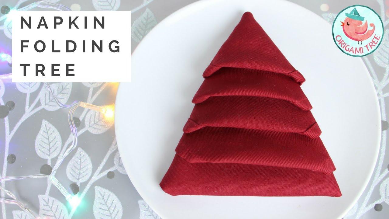 Napkin Folding Tutorial Christmas Tree Napkin Fold Easy Folding For Dinner Tables Origamitree Youtube
