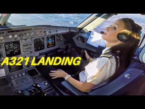 Beautiful FEMALE PILOT LANDING Airbus A321 Passenger Jet  ► ►Cockpit View!!