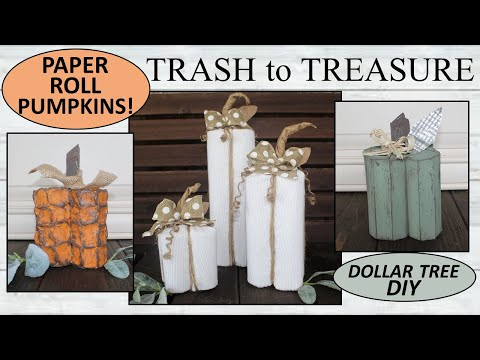 TRASH to TREASURE/ Dollar Tree DIY / Pumpkins/ FARMHOUSE FALL Decor