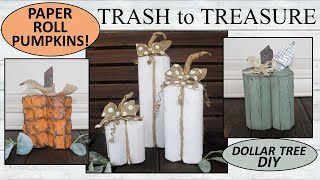 TRASH to TREASURE/ Pumpkins/ FARMHOUSE FALL / Dollar Tree DIY