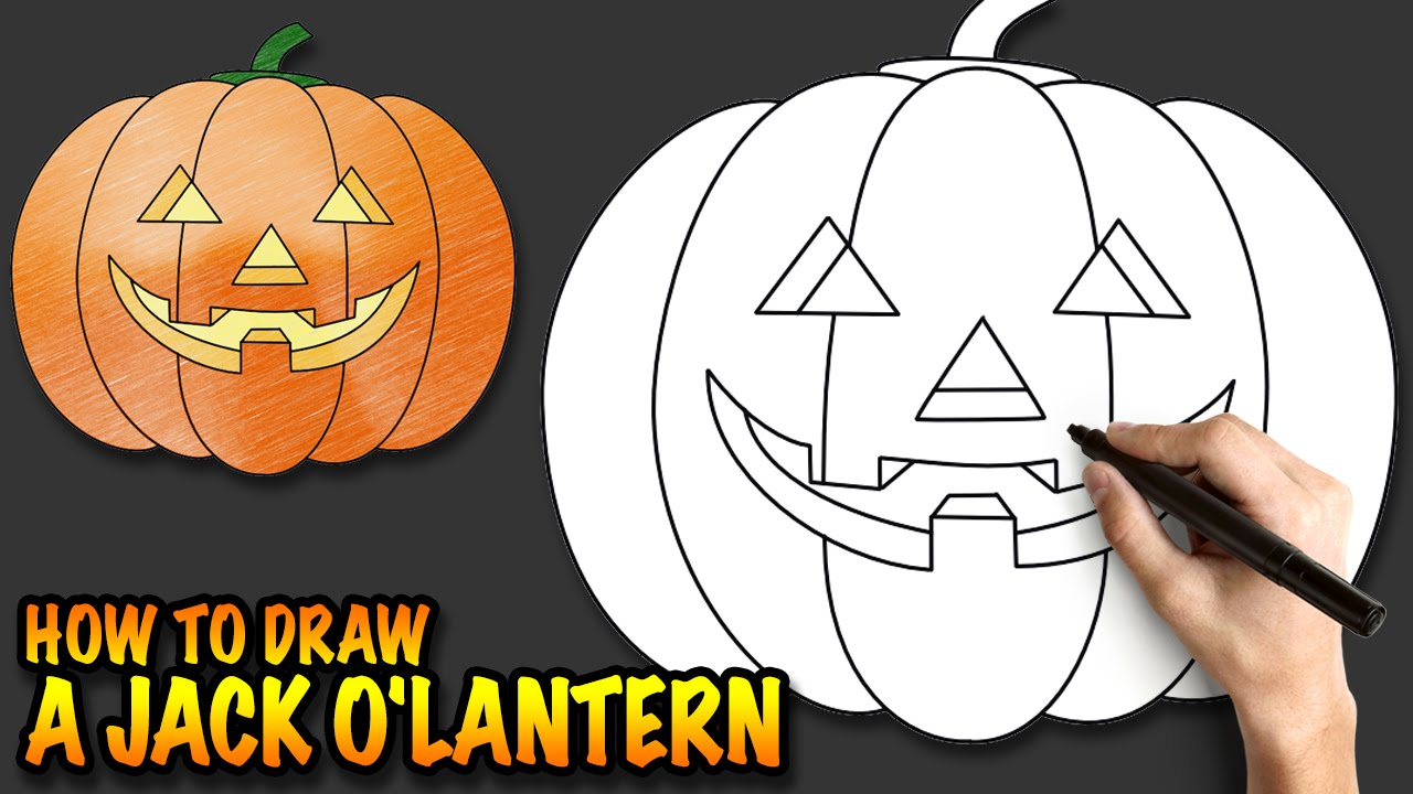 Halloween Pumpkin Drawing Picture.How To Draw A Jack O Lantern A Halloween Pumpkin Easy Step By Step Drawing Tutorial