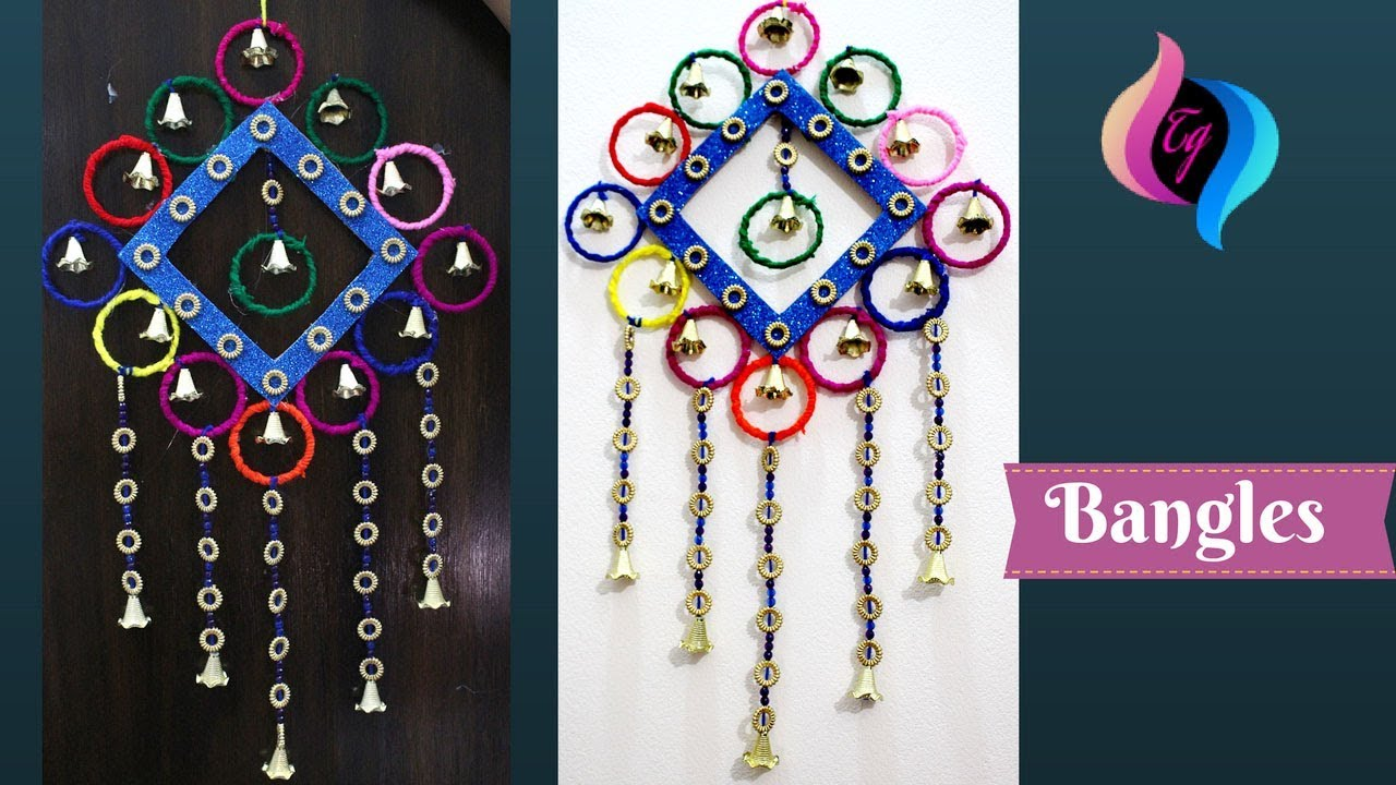 How To Make Wall Hanging With Bangles And Yarn Old Bangles Craft Home Decoration Using