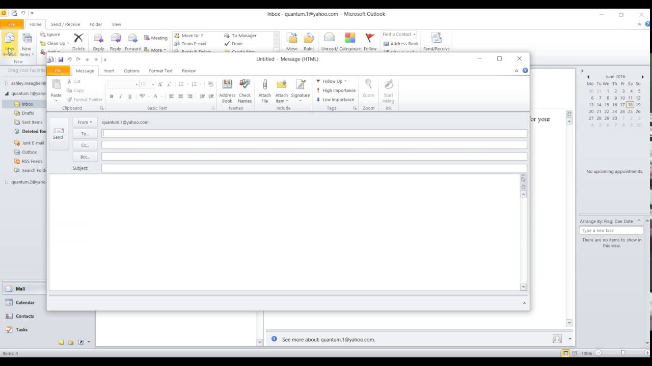 1. Creating a New Message in Outlook 2010