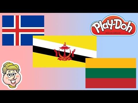 Play-Doh Flags! Iceland, Brunei, and Lithuania! EWMJ #174