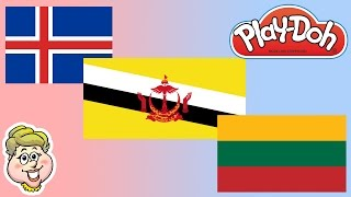 Play-Doh Flags! Iceland, Brunei, and Lithuania! EWMJ #174