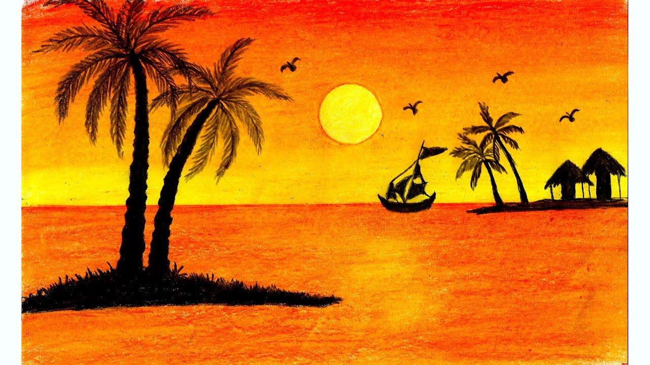 Easiest Way to Draw Beautiful Sunset Scenery with Oil Pastel for Beginners - Step by Step #1