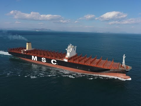 MSC Oscar Container Ship : Arriving in Rotterdam Port