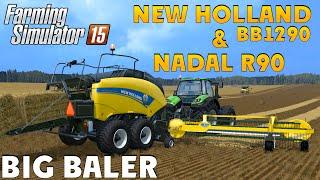 Farming Simulator 15 NEW HOLLAND BB1290 & NADAL R90 Big Baler