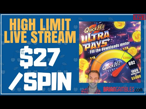 🔴 LIVE up to $27/Spin in HIGH LIMIT Slot Machines ♦️ LAS VEGAS ♦️ Brian Christopher Slots #Ad