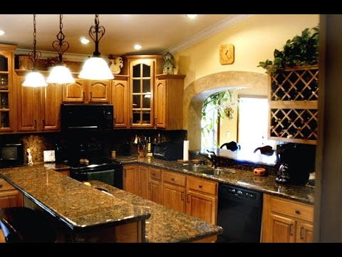 Honey Oak Kitchen Cabinets with Granite Countertops - YouTube