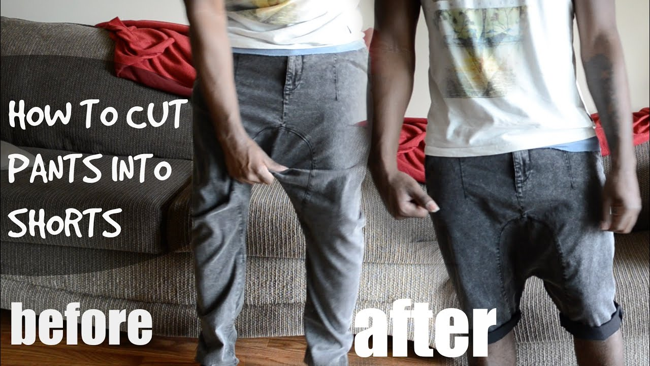 DIY How to Cut Harem Pants/Joggers into Shorts Tutorial - @dyrandoms - YouTube