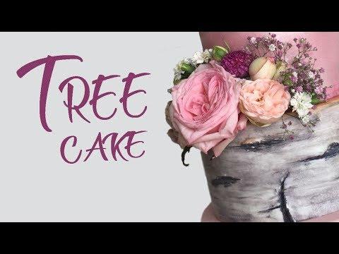 making-birch-tree-log-wedding-cake