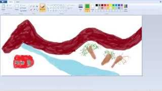 How To Draw And Paint Mountain, River,Tree In MS Paint?