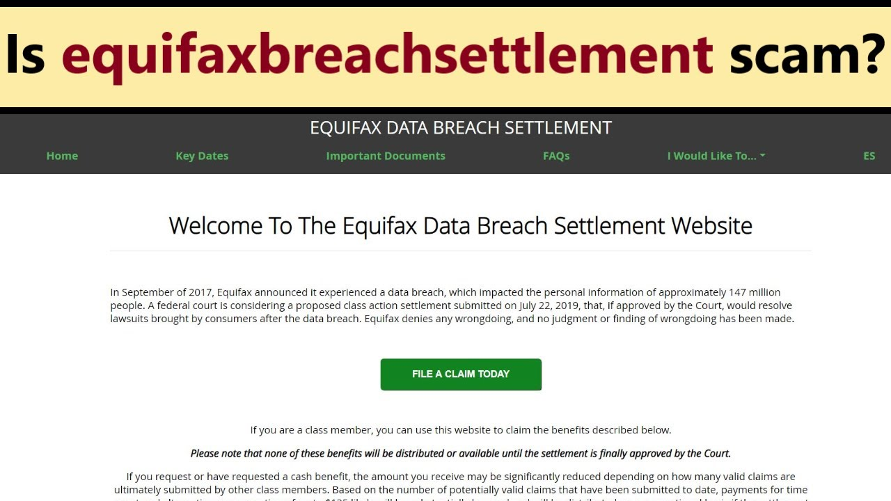 Equifaxbreachsettlement com - scam or legit way how to claim up to 125 $?