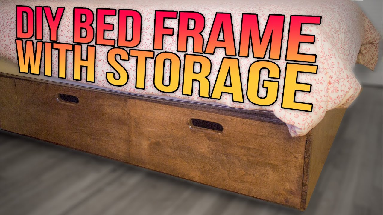 Build A Queen Bed Frame With A Lot Of Storage Youtube