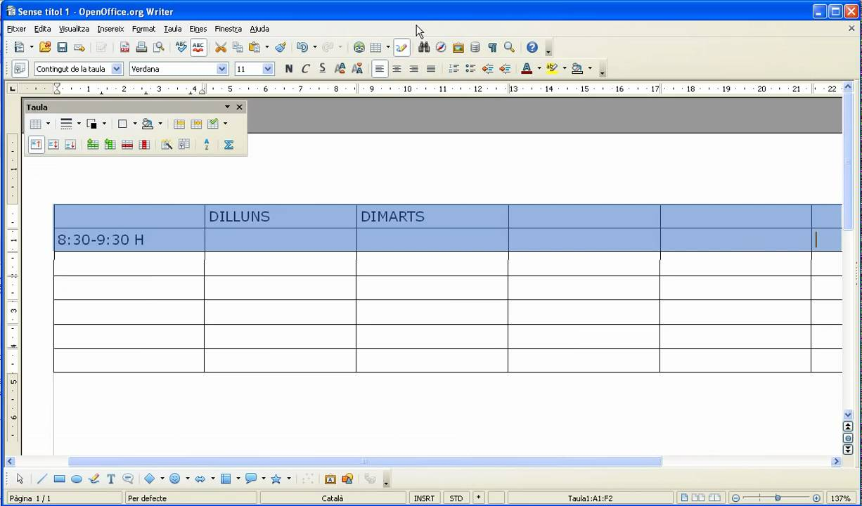 Crear un horari amb openoffice youtube - Realiser un organigramme open office ...