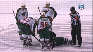 Taylor Hall kneeing major on Cal Clutterbuck Feb 21 2013 Minnestoa Wild vs Edmonton Oilers NHL