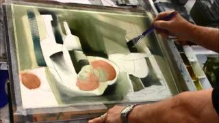 sterling edwards paints a watercolor demo of an abstract still life at the casa