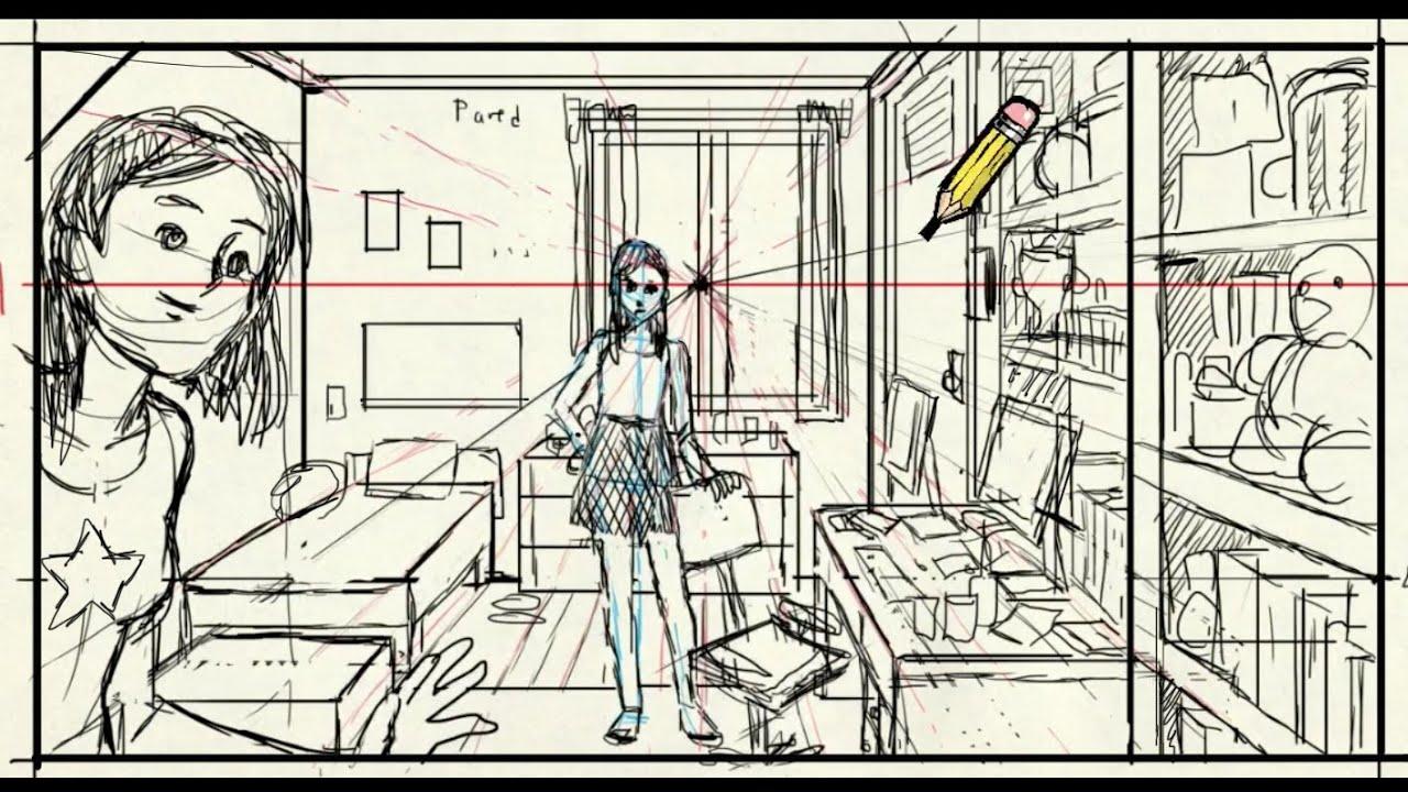 Como dibujar una habitaci n en perspectiva youtube for Dormitorio para dibujar facil