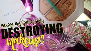 MIXING ALL MY HIGHLIGHTERS TOGETHER! DESTROYING MAKEUP?