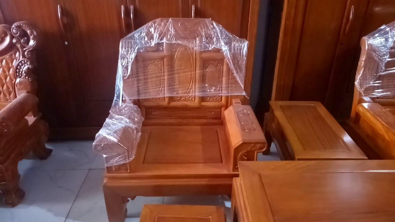 Bàn ghế phòng khách Âu Á hộp chương voi gỗ gõ giá 21tr LH 0987848950