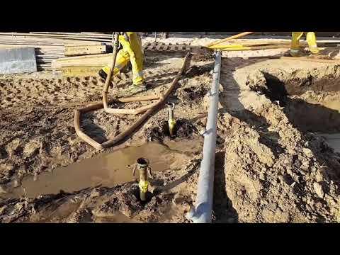 Установка канализации при высоком уровне грунтовых вод. Применяется система водопонижения.