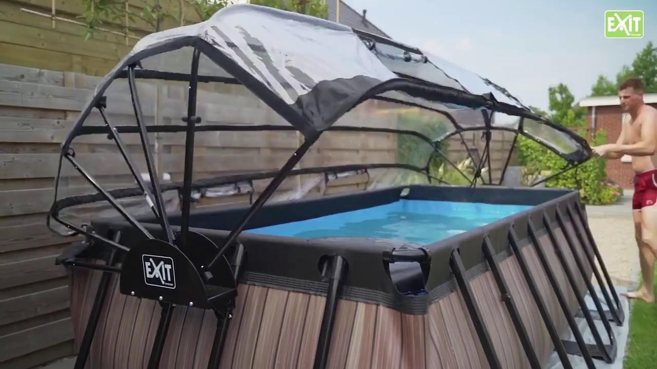 piscine hors sol tubulaire rectangulaire exit toys 4 x 2 m et dome de protection