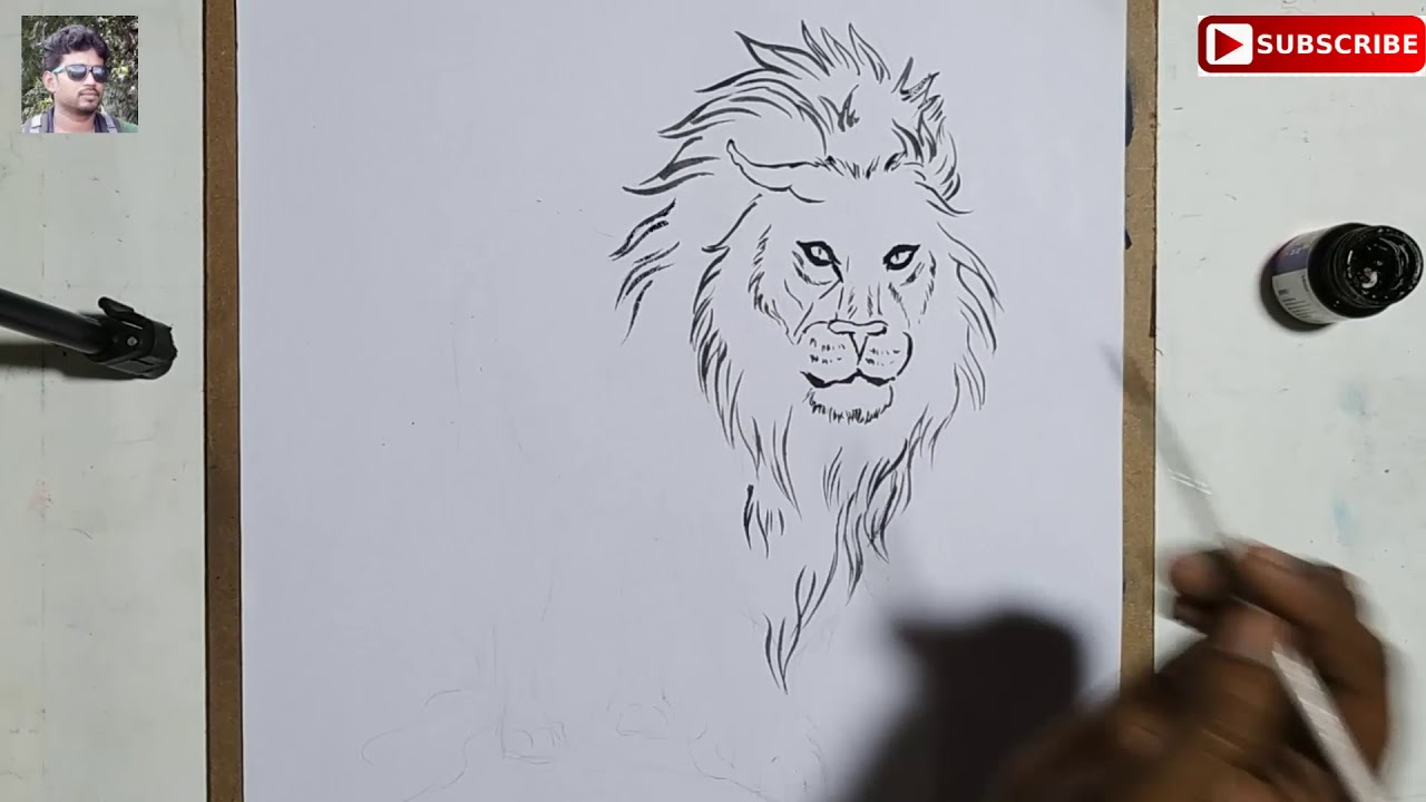 Drawing of maa durgas lionline art of lion happy durga puja