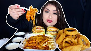 CRUNCHY ONION RINGS, CHEESEBURGER & CHILLI CHEESE FRIES MUKBANG | JACOB'S EX MESSAGED ME