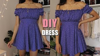 DIY OFF THE SHOULDER DRESS / How To Make A Dress With Sewing Pattern