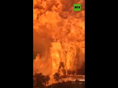 Massive explosion of fuel tank in Russia