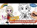 How to drawing cartoon characters | Frozen Princess Elsa | Drawing Tutorial | Coloring
