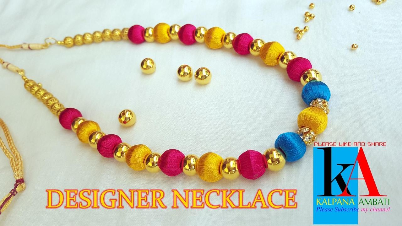 silk Thread Designer Jewellery necklace Making video - YouTube