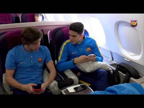 FC Barcelona squad en route to Japan