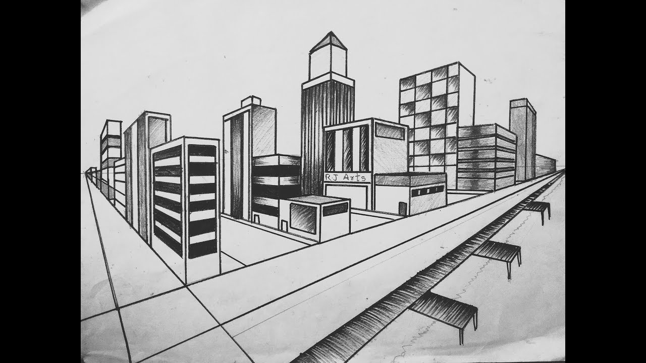 How To Draw City Landscape In 2 Point Perspective By Its Art Trap