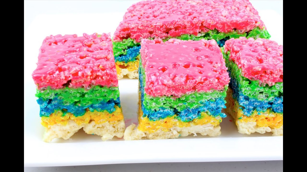 Rainbow Rice Krispies Treats - YouTube
