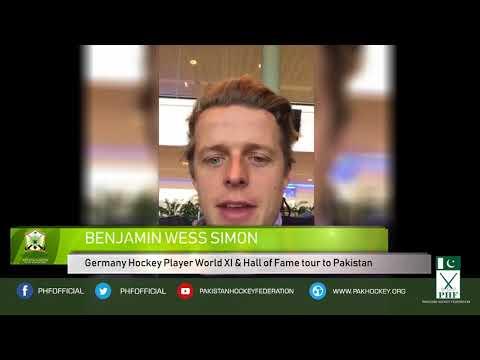 BENJAMIN WESS SIMON Germany Hockey Player World XI & Hall of Fame tour to Pakistan