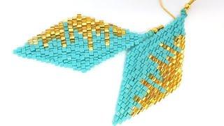 Серьги из бисера. Кирпичное плетение. Мастер класс. Бисероплетение.