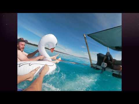home made raft newzealand pontoon barge