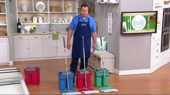 Minute Mop Wash & Dry Dual Chamber Bucket with 2 Microfiber Pads on QVC