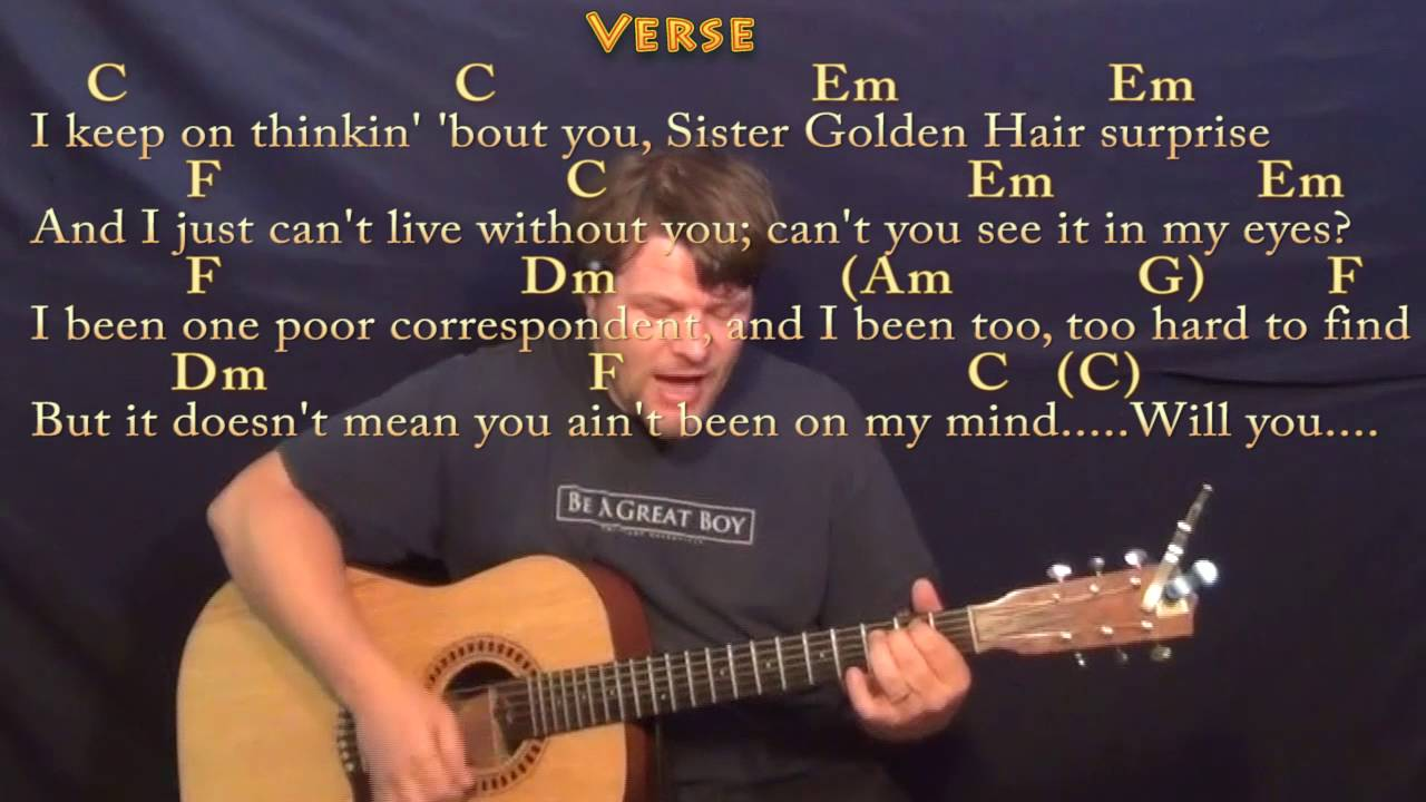 Sister Golden Hair America Strum Guitar Cover Lesson in C with  Chords/Lyrics