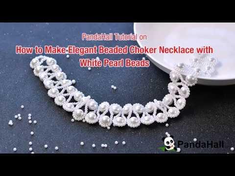 vid o 108 comment faire un collier choker l gant avec perles en verre nacr youtube. Black Bedroom Furniture Sets. Home Design Ideas