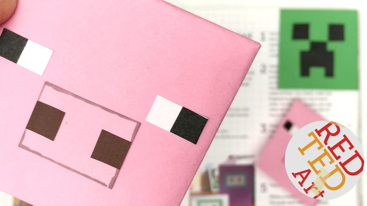 Easy Minecraft Pig Bookmark DIY - Paper