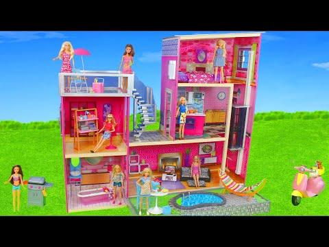 Barbie Dolls: Dollhouse Furniture w/ Bedroom, Kitchen & Bathroom | Dreamhouse Doll Toys for Kids