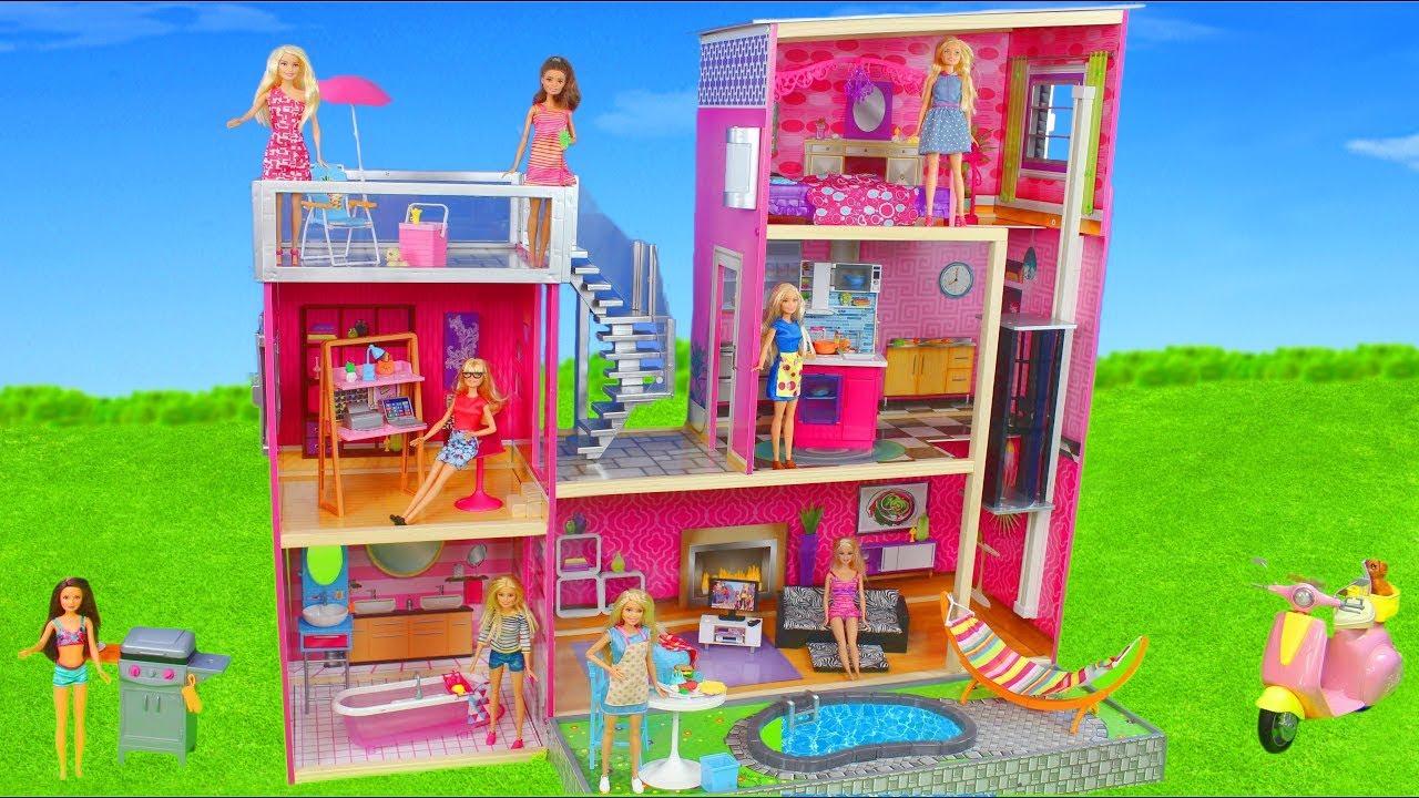 Barbie Dolls Dollhouse Furniture W Bedroom Kitchen Bathroom