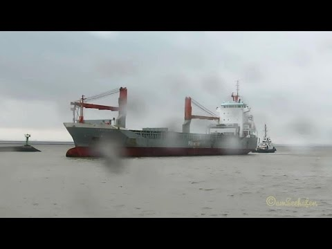 cargo crane seaship PBHZ IMO 9250385 FLINTERSKY inbound Emden in pouring rain at 6BFT with tug