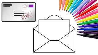 How to Draw Mail Letter Colouring Book for Kids | Learning Coloring Pages with Colored Markers