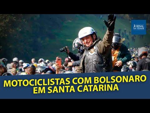 Motociclistas com Bolsonaro em Chapecó, Santa Catarina - AO VIVO
