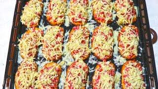 """Рецепт """"Мини Пицца""""/Быстрая пицца Из Батона/ Горячие бутерброды в духовке/ Pizza"""