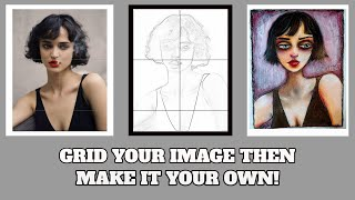 Simplest Grid Method of Drawing  - Beginners - Using Phone Apps - Start w/4  Boxes - FREE DOWNLOAD!